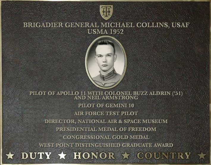 Dedication plaque for Brigadier General Michael Collins, USAF, USMA 1952