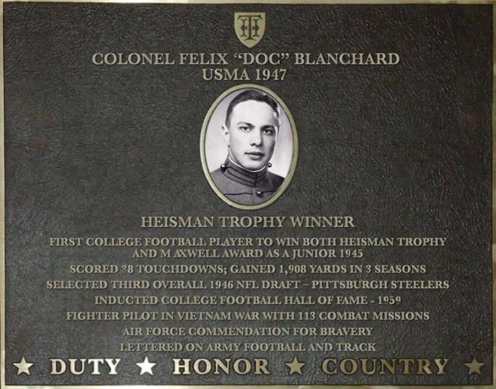 Dedication plaque for Colonel Felix 'Doc' Blanchard, USMA 1947