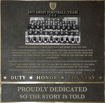 Plaque honoring the 1953 Army Football Team
