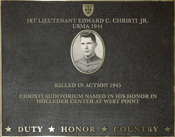 Dedication plaque for 1st Lieutenant Edward C. Christi Jr., USMA 1944