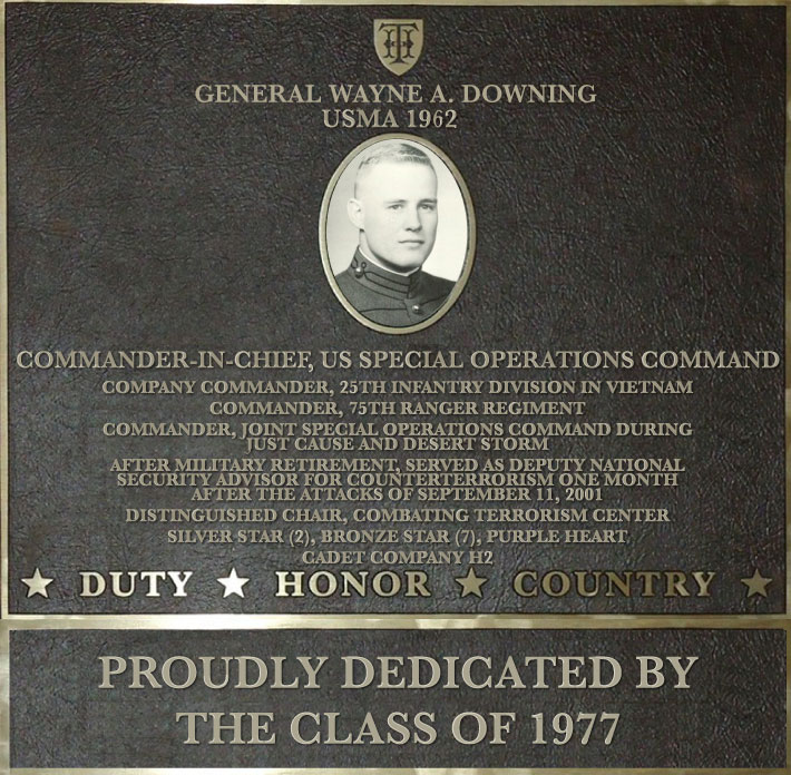 Dedication plaque in honor of General Wayne A. Downing, USMA 1962