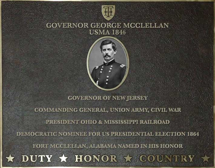 Dedication plaque for Governor George McClellan, USMA 1846