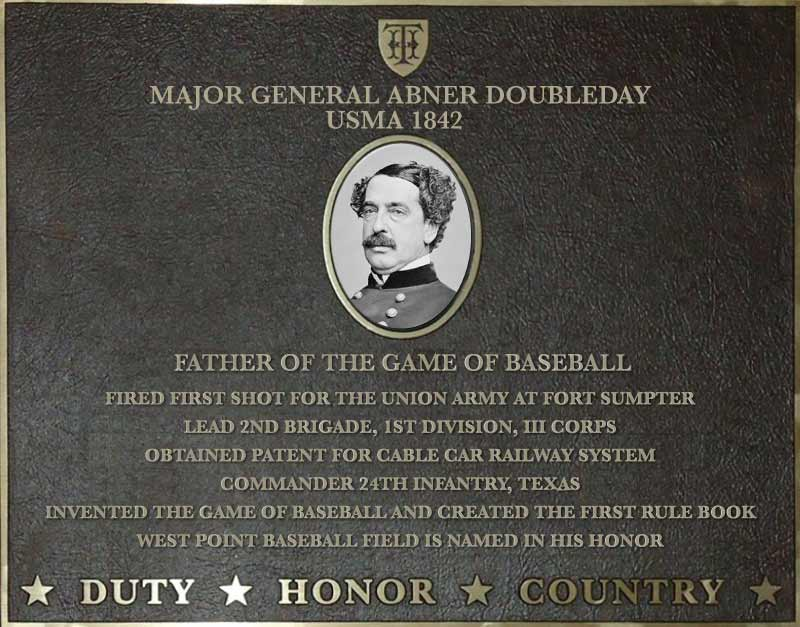 Dedication plaque for Major General Abner Doubleday, USMA 1842