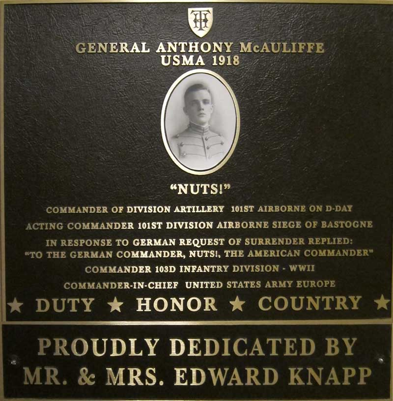 Dedication plaque in honor of General Anthony McAuliffe, USMA 1918