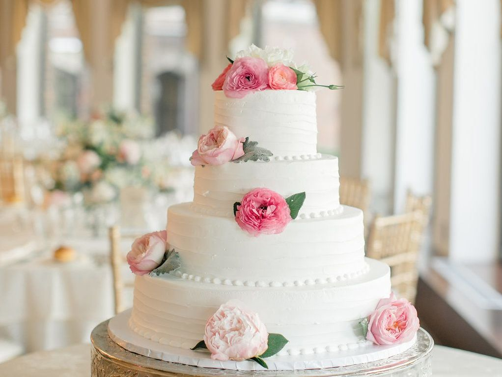 Decadent, tiered wedding cake for Blushing Bride Brunch Special