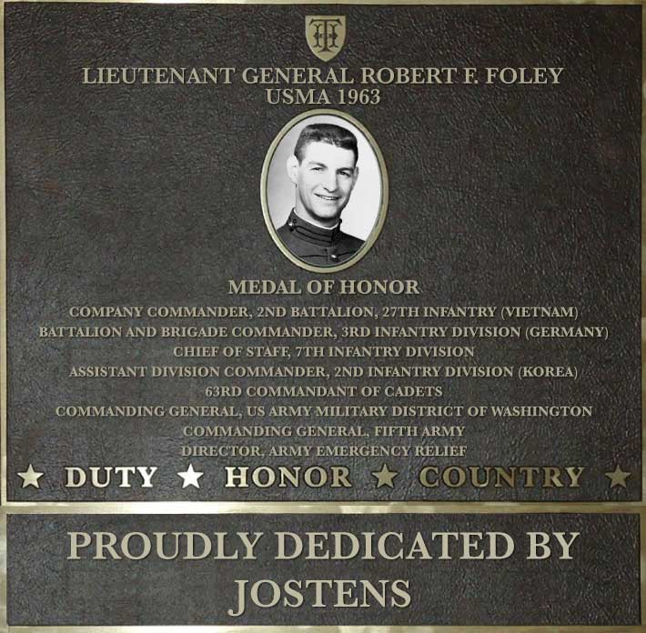Dedication plaque in honor of Lieutenant General Robert F. Foley, USMA 1963