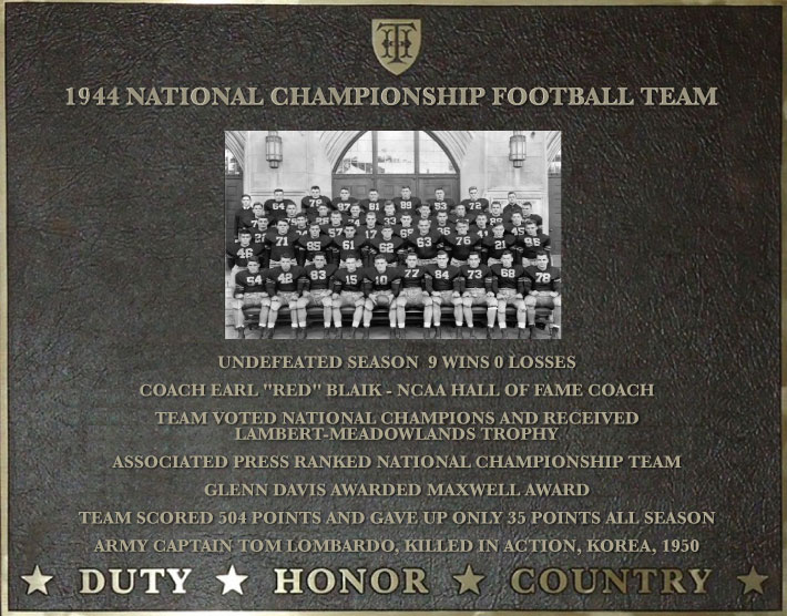 Plaque honoring the 1944 National Championship Football Team