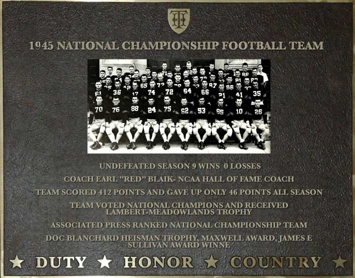 Dedication plaque for the 1945 National Championship Football Team.