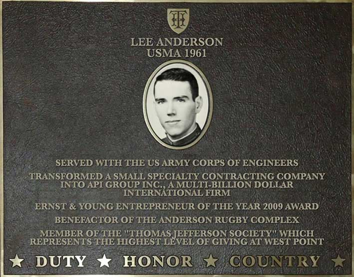 Dedication plaque in honor of Lee Anderson, USMA 1961
