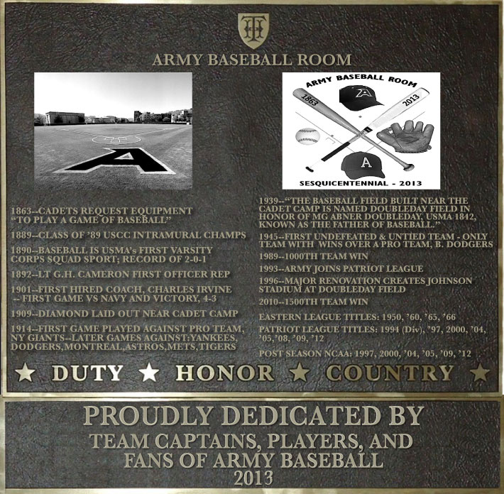 Dedication plaque in honor of the Army Baseball Room Project
