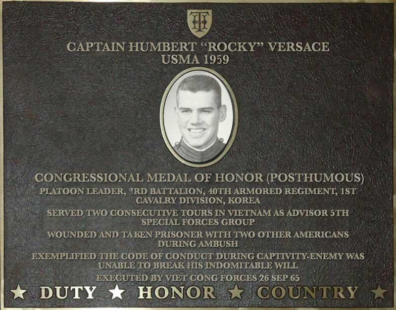 Dedication plaque in honor of Captain Humbert 'Rocky' Versace, USMA 1959