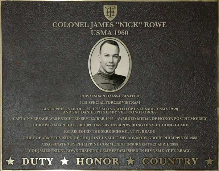 Dedication plaque in honor of Colonel James 'Nick' Rowe, USMA 1960