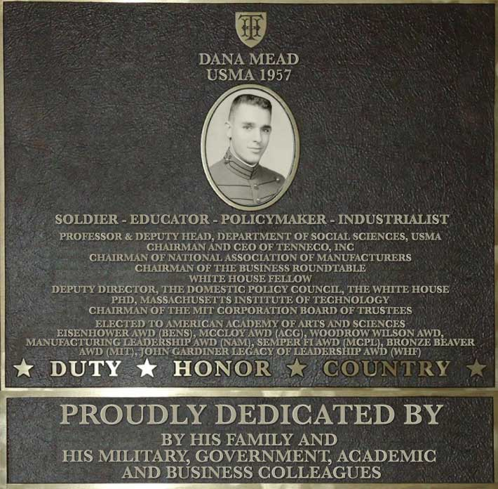 Dedication plaque in honor of Dana Mead, USMA 1957