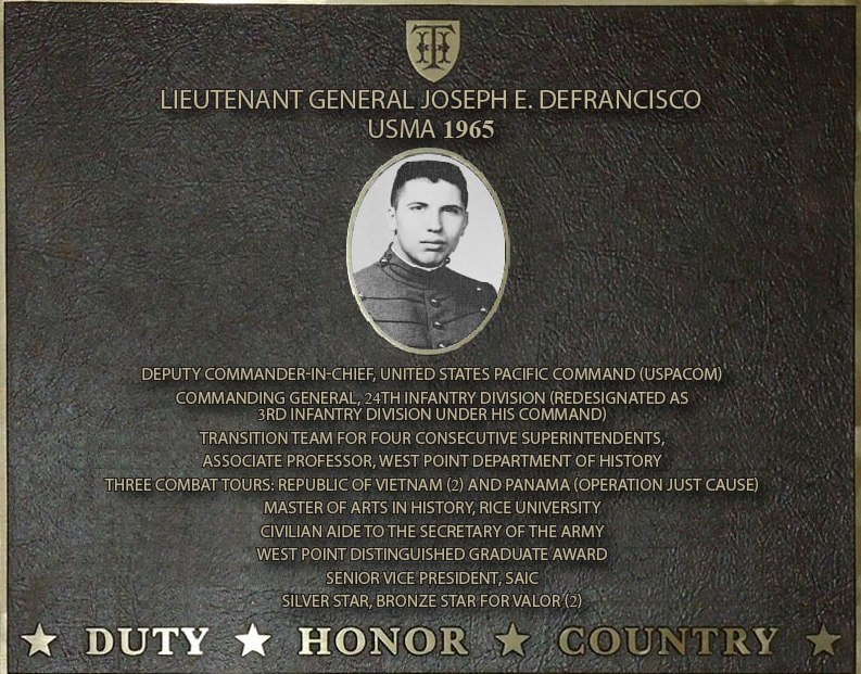 Dedication plaque in honor of Lieutenant General Joseph E. DeFrancisco, USMA 1965
