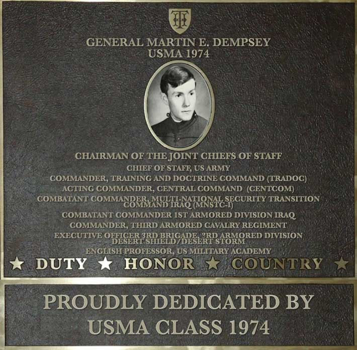 Dedication plaque in honor of General Martin E. Dempsey, USMA 1974