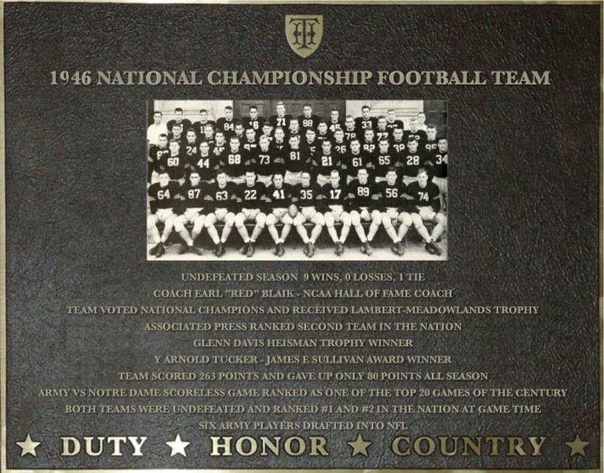Dedication plaque for the 1946 National Championship Football Team