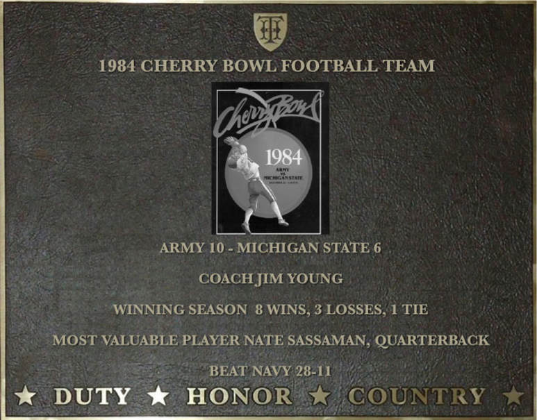 Dedication plaque for the 1984 Cherry Bowl Football Team
