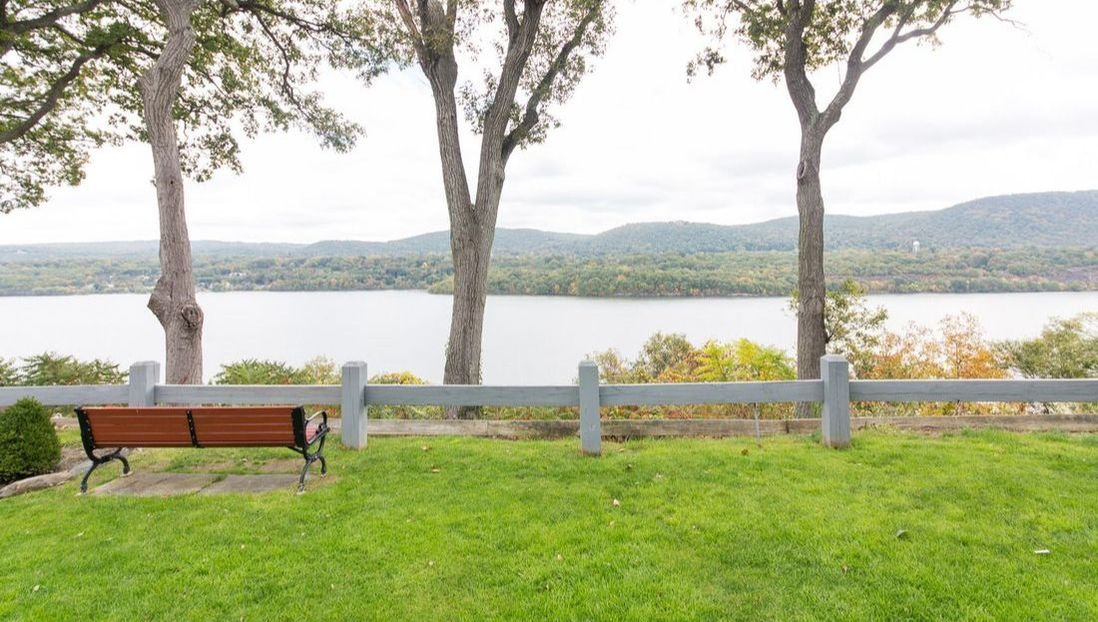 Benches by the river at West Point
