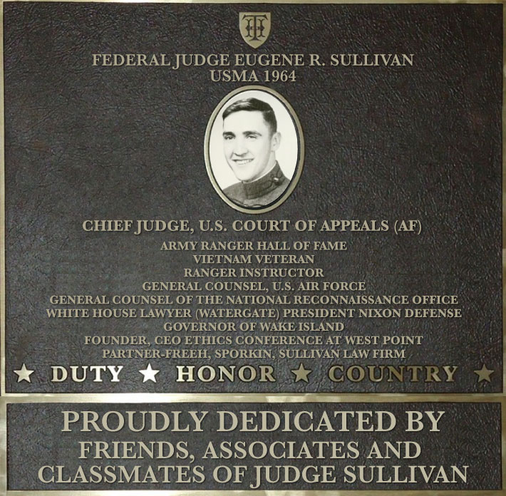 Dedication plaque in honor of Federal Judge Eugene R. Sullivan, USMA 1964