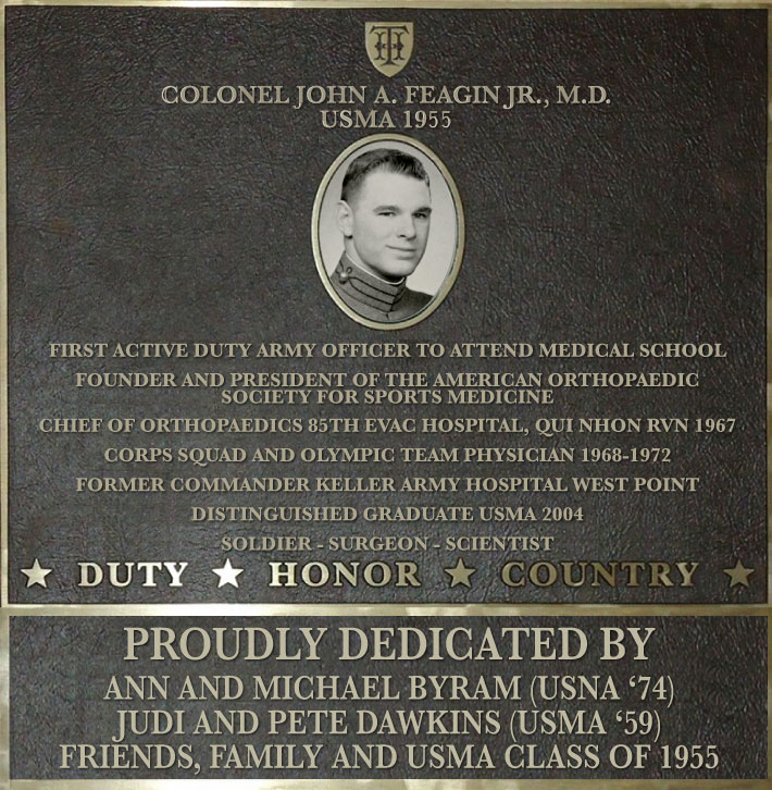 Dedication plaque in honor of Colonel John A. Feagin Jr., M.D., USMA 1955