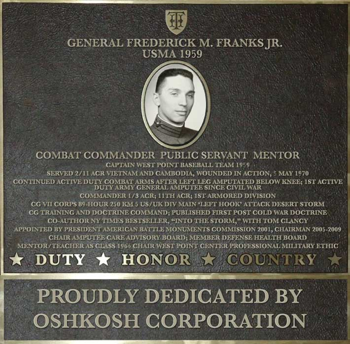 Dedication plaque in honor of General Frederick M. Franks Jr., USMA 1959