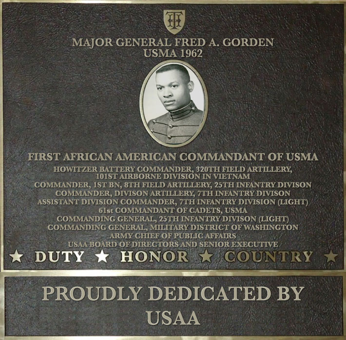 Dedication plaque in honor of Major General Fred A. Gorden, USMA 1962