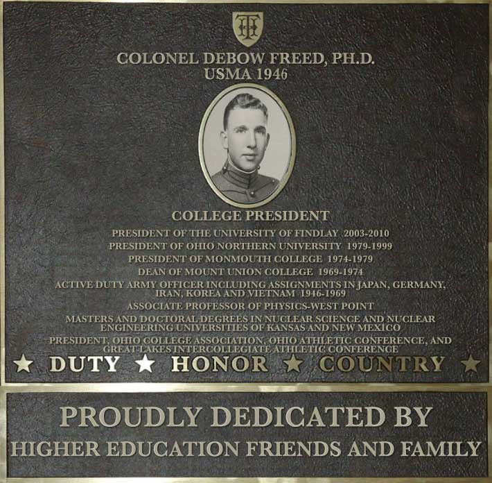 Dedication plaque in honor of Colonel Debow Freed, PH.D., USMA 1946