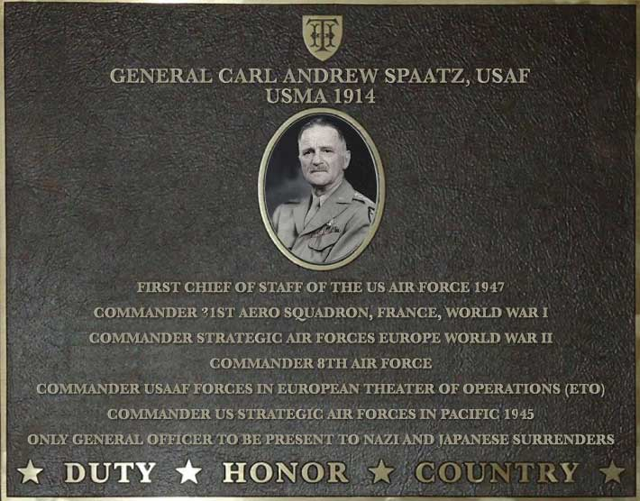 Dedication plaque for General Carl Andrew Spaatz, USAF, USMA 1914