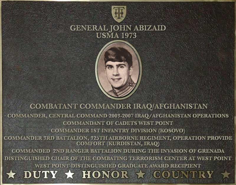 Dedication plaque in honor of General John Abizaid, USMA 1973