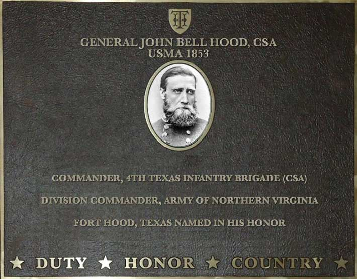 Dedication plaque for General John Bell Hood, CSA, USMA 1853