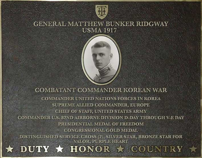 Dedication plaque for General Matthew Bunker Ridgway, USMA 1917