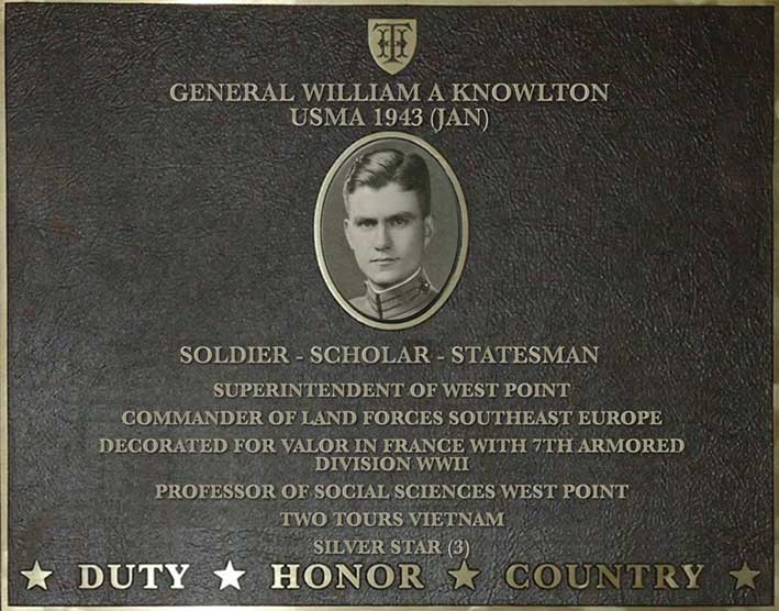 Dedication plaque for General William A. Knowlton, USMA 1943
