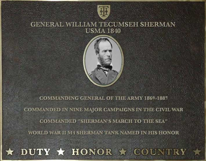 Dedication plaque for General William Tecumseh Sherman, USMA 1840