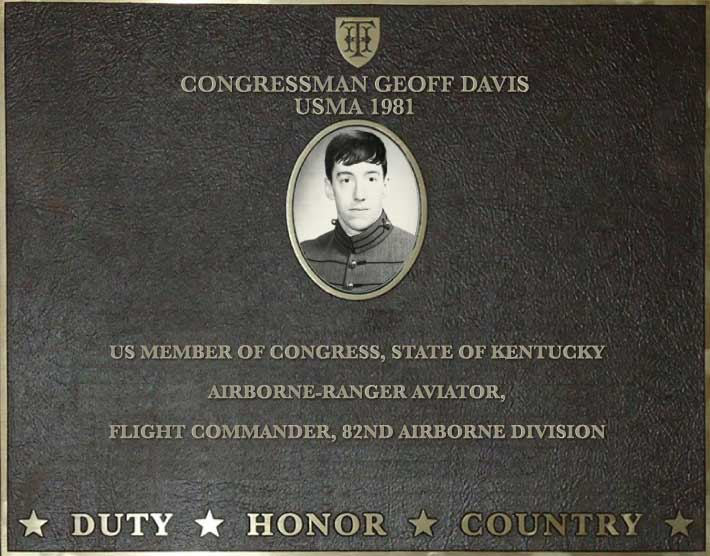 Dedication plaque for Congressman Geoff Davis, USMA 1981