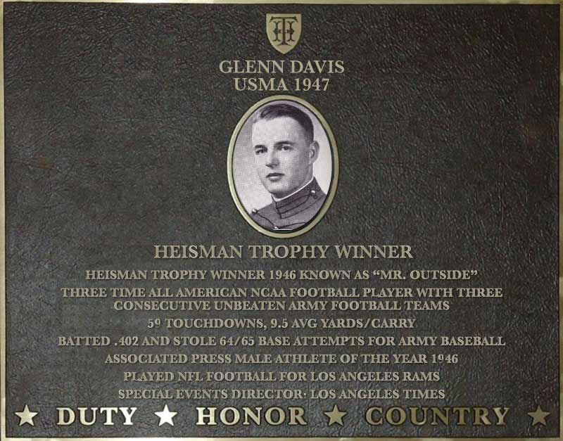Dedication plaque for Glenn Davis, USMA 1947