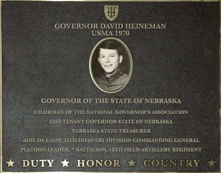 Dedication plaque for Governor David Heineman, USMA 1970