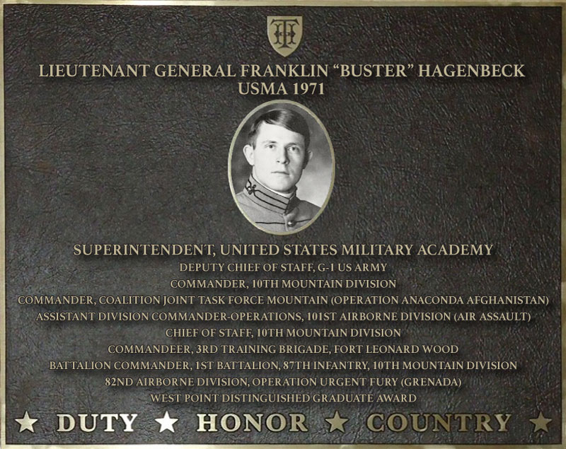 Dedication plaque in honor of Lieutenant General Franklin 'Buster' Hagenbeck, USMA 1971