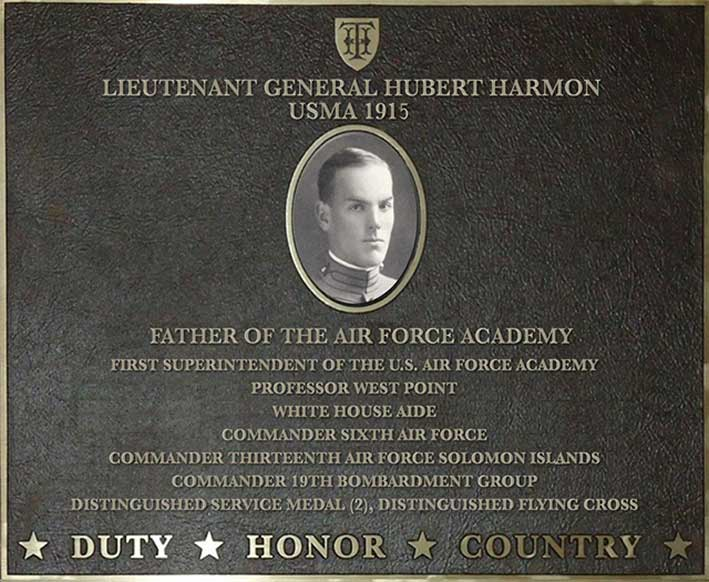 Dedication plaque for Lieutenant General Hubert Harmon, USMA 1915