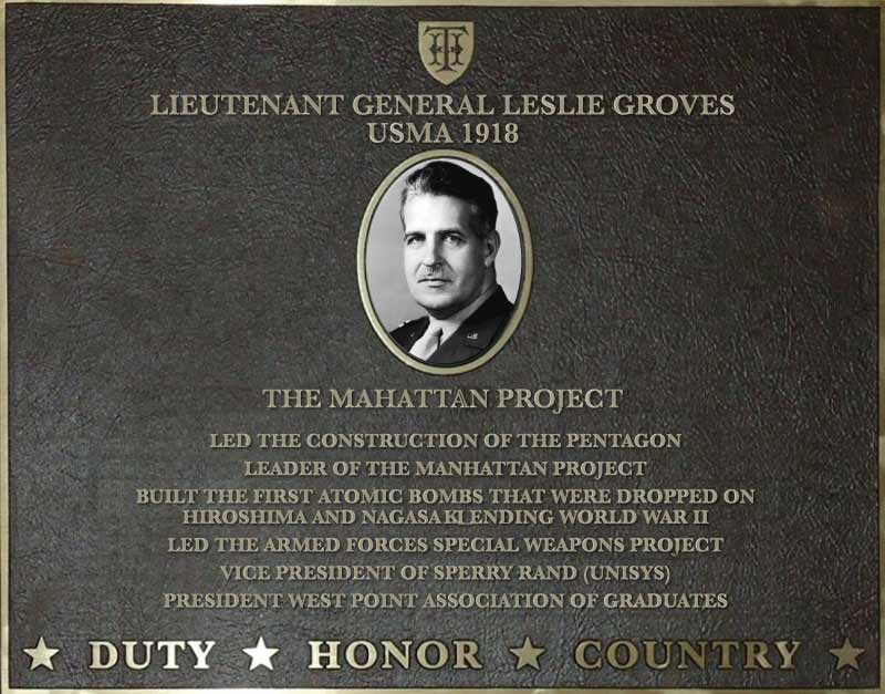 Dedication plaque for Lieutenant General Leslie Groves, USMA 1918