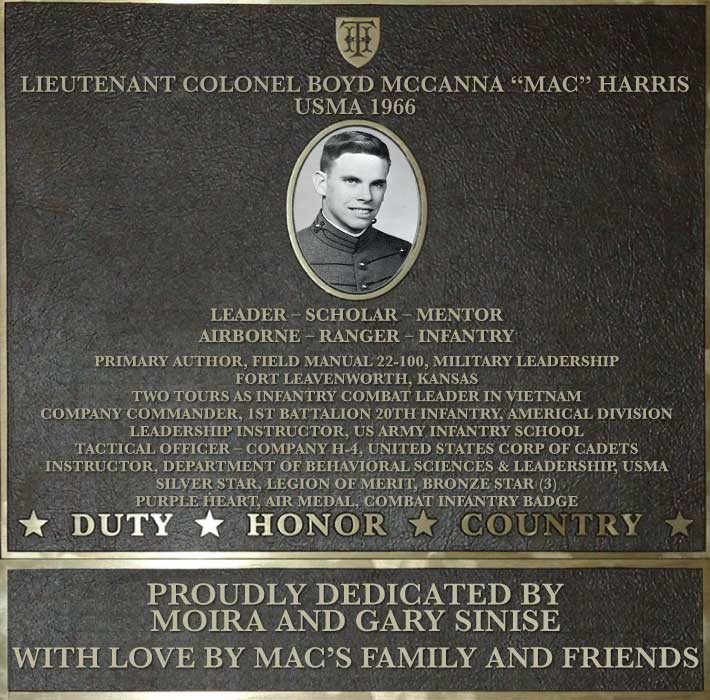 Dedication plaque in honor of Lieutenant Colonel Boyd McCanna 'Mac' Harris, USMA 1966