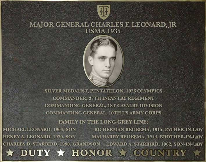 Dedication plaque for Major General Charles F. Leonard Jr., USMA 1935