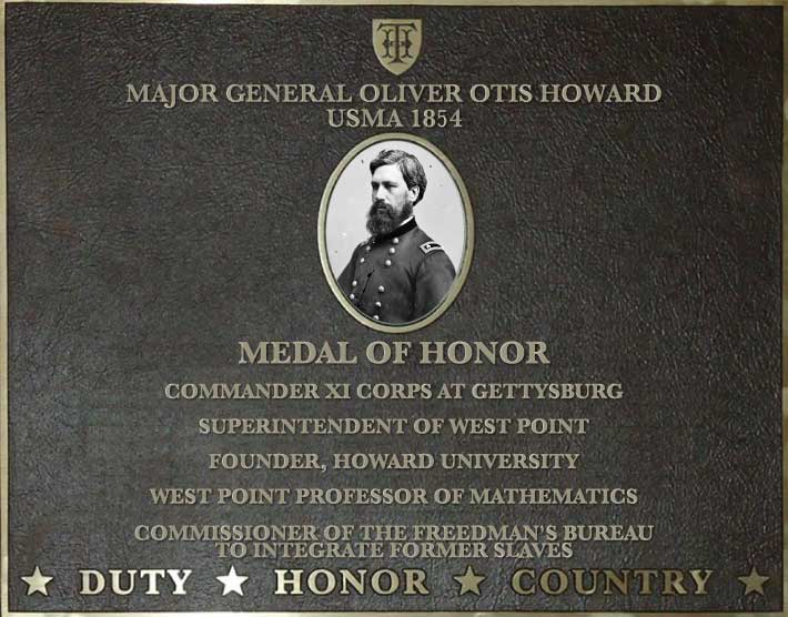 Dedication plaque for Major General Oliver Otis Howard, USMA 1854