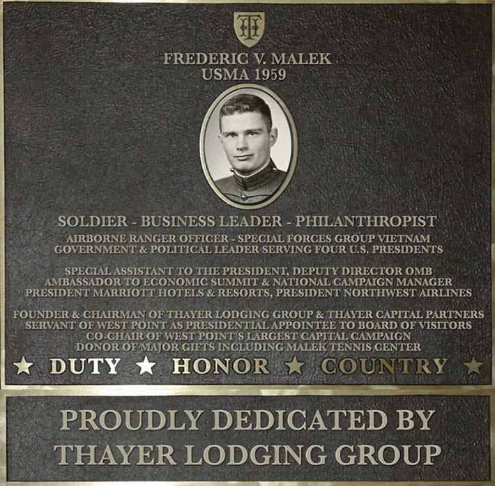 Dedication plaque in honor of Frederic V. Malek, USMA 1959