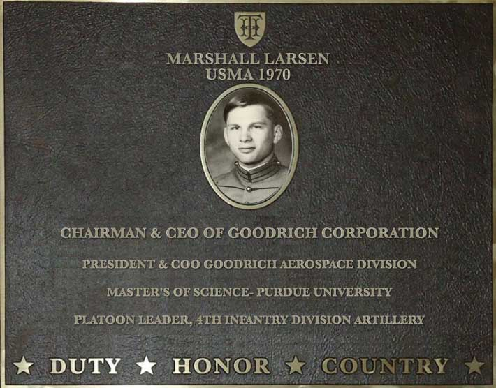 Dedication plaque for Marshall Larsen, USMA 1970