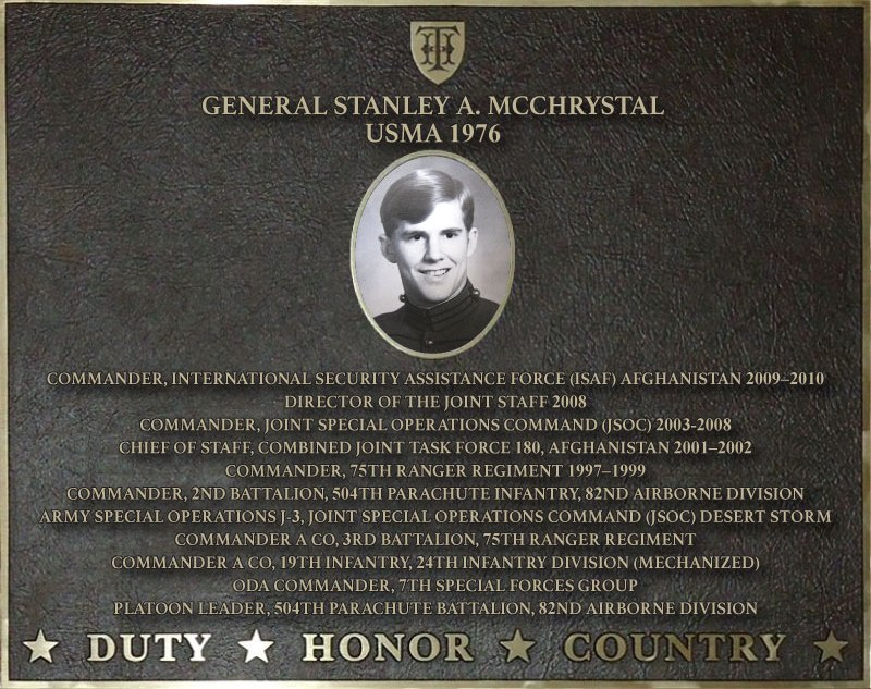 Dedication plaque in honor of General Stanley A. McChrystal, USMA 1976