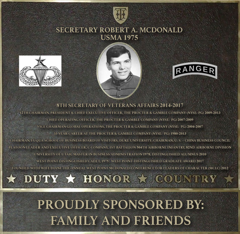 Dedication plaque in honor of Mark D. McLaughlin, USMA 1988