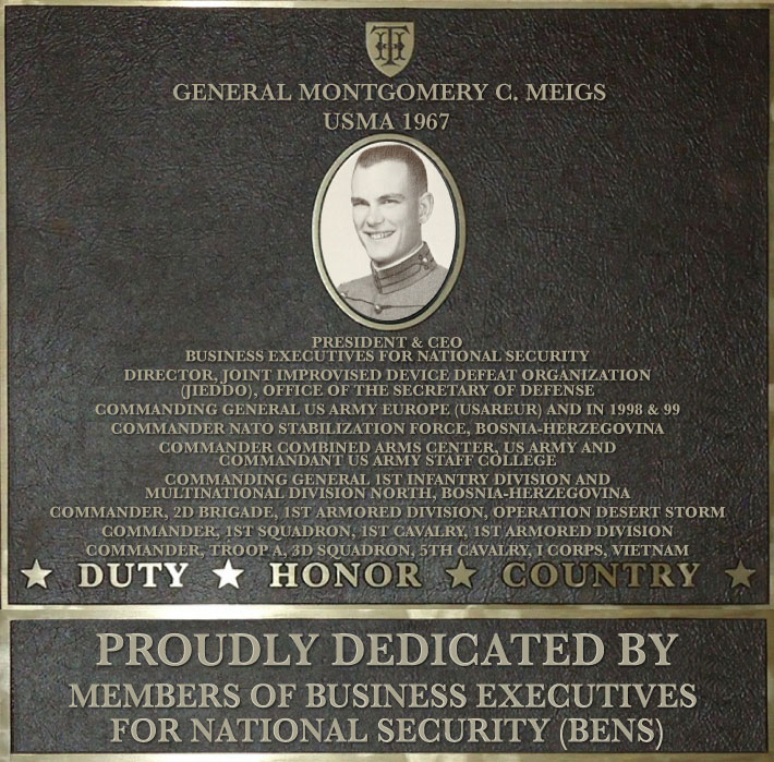 Dedication plaque in honor of General Montgomery C. Meigs, USMA 1967