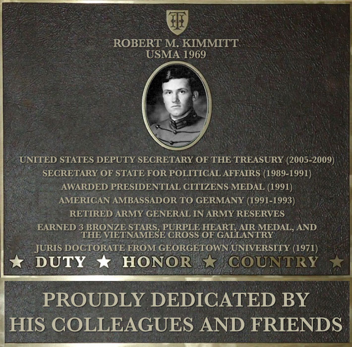 Dedication plaque in honor of Robert M. Kimmitt, USMA 1969