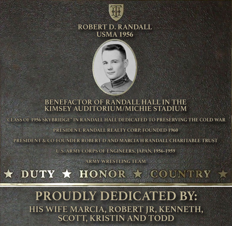 Dedication plaque in honor of Robert D. Randall, USMA 1956
