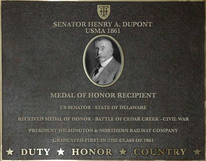 Dedication plaque for Senator Henry A. DuPont, USMA 1861